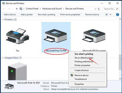 Microsoft Print Printer to PDF