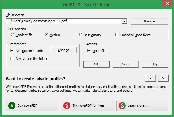 DoPDF virtual printer