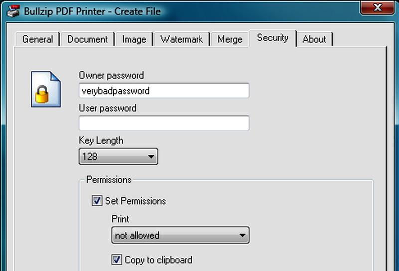 Virtual printer BullZIP PDF Printer