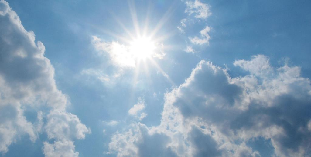 The sun is high in the sky