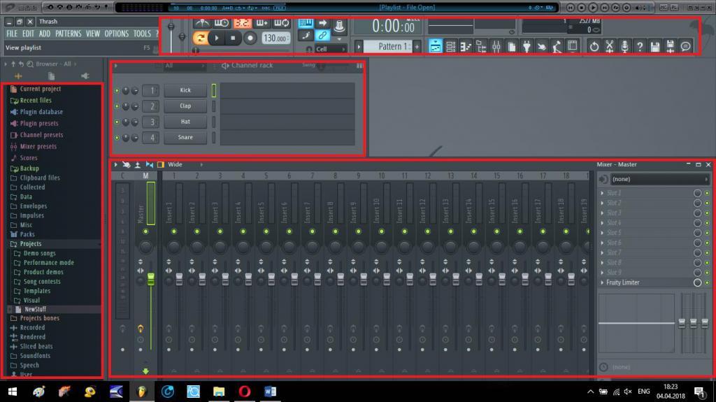 Основные элементы интерфейса FL Studio