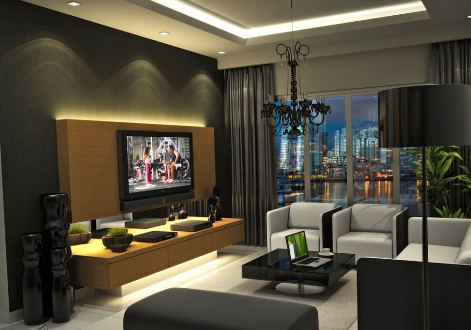living room design in high-tech style