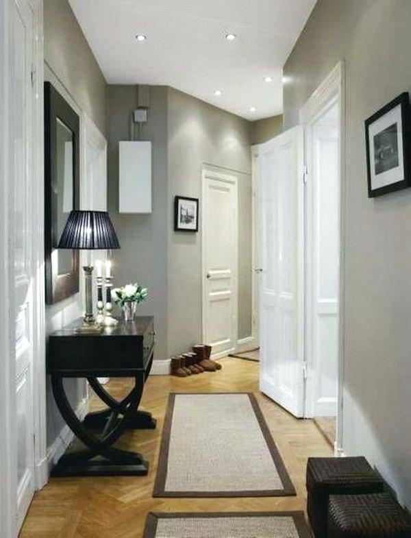 narrow hallway design with mirror