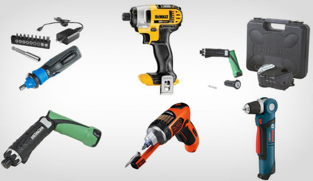 Cordless screwdrivers from various manufacturers