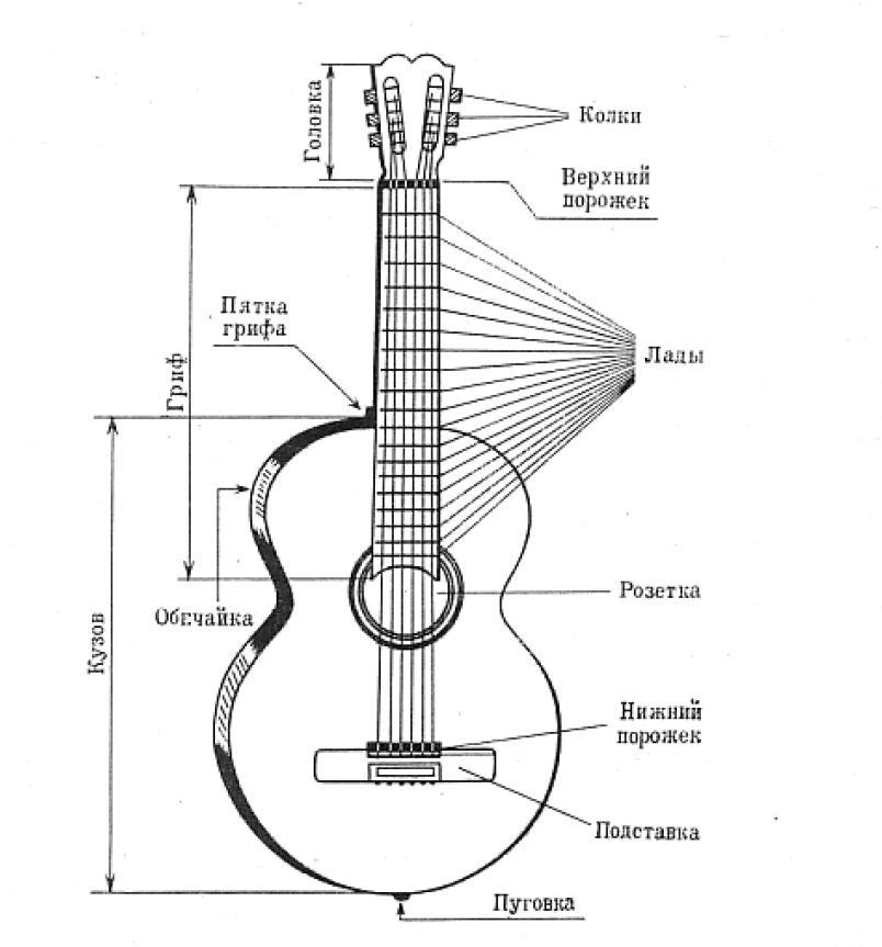 схема строения гитары мне просто