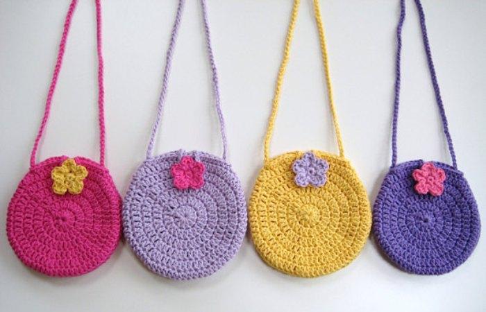 Круглые вязаные сумки