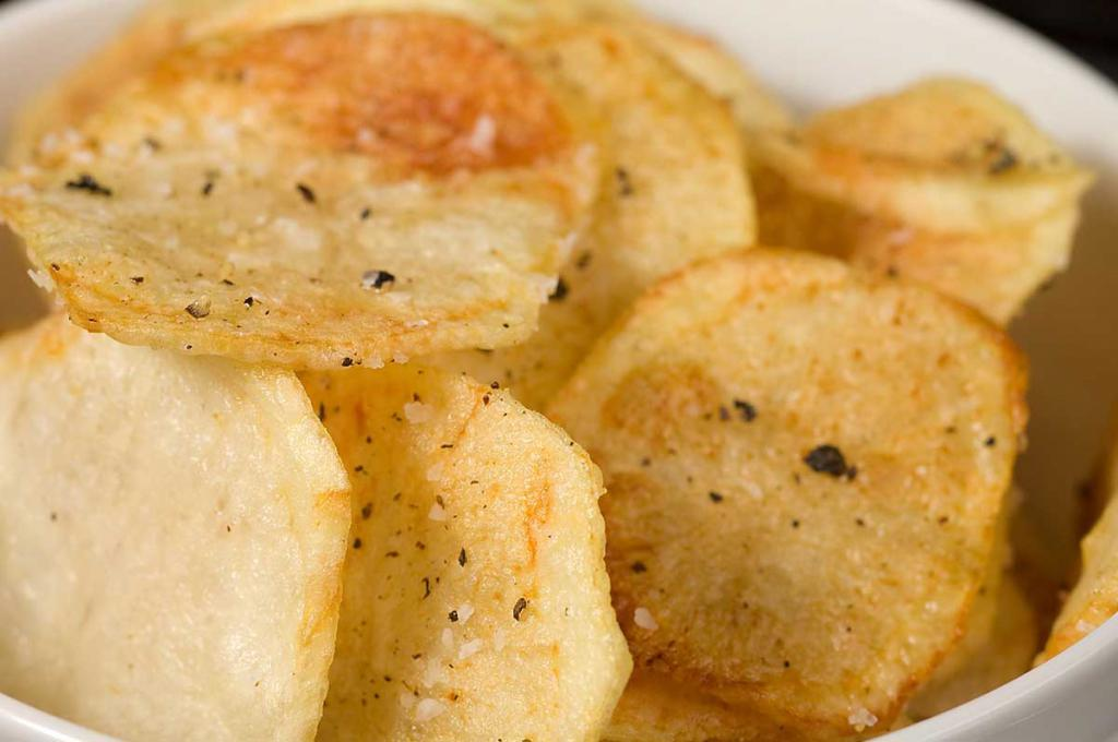 Potato chips, cooked at home.