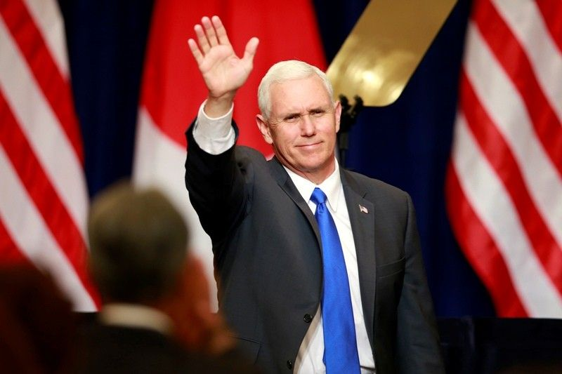 US Vice President at a press conference