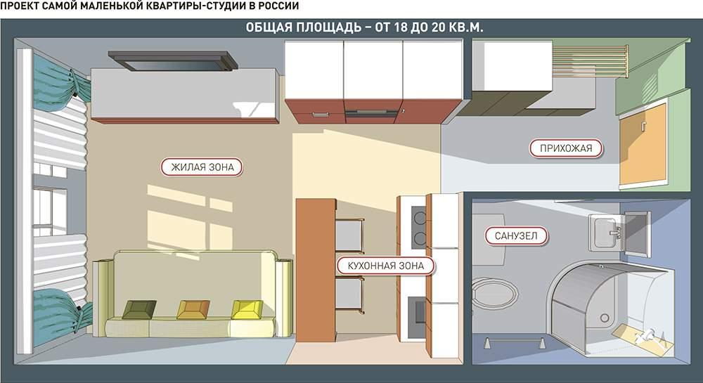 Plan-design studio apartment