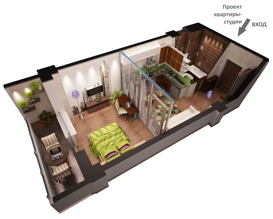 3d studio apartment project