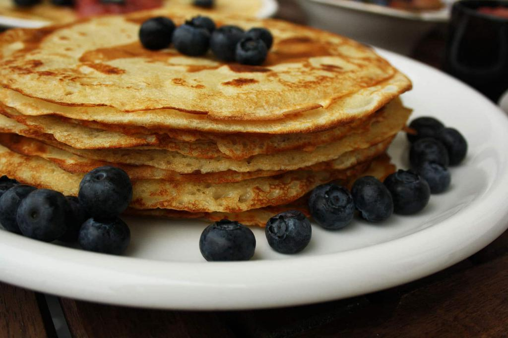 delicious pancakes on kefir with holes