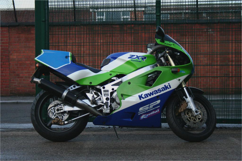 Green and Blue Kawasaki ZZR 250