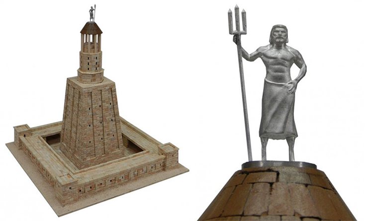 Reconstruction of the Lighthouse of Alexandria and the statue of Poseidon