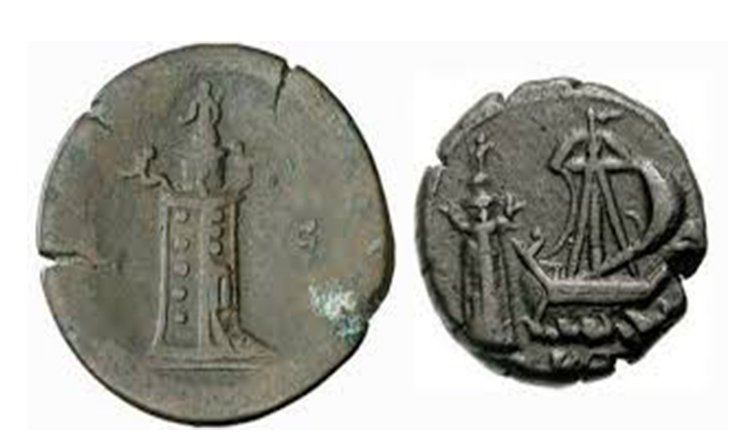 Ancient coins with the image of the Lighthouse of Alexandria