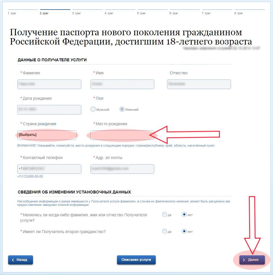 "Application for passport through ""Gosuslugi"""