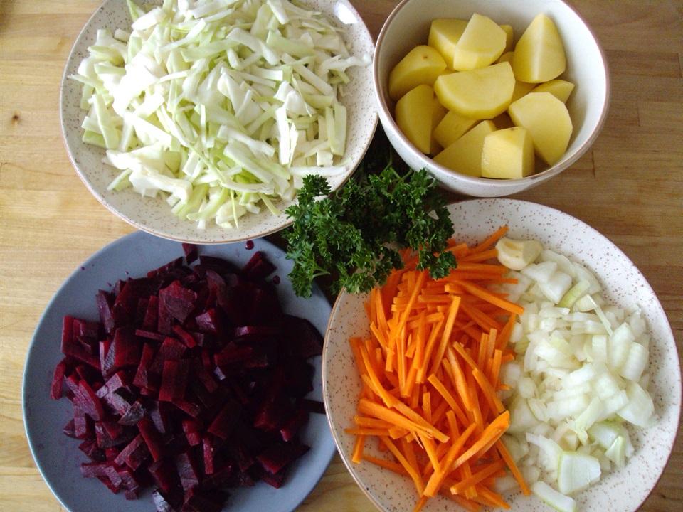 A recipe for a delicious vegetarian borscht