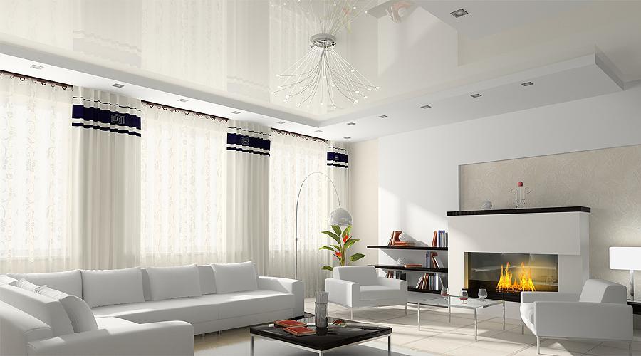 Белый натяжной потолок в интерьере: фото вариантов, советы по выбору