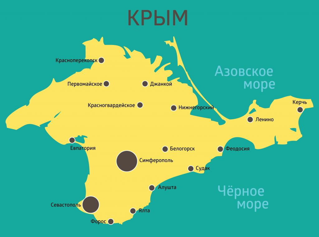 Cities of Crimea on the map