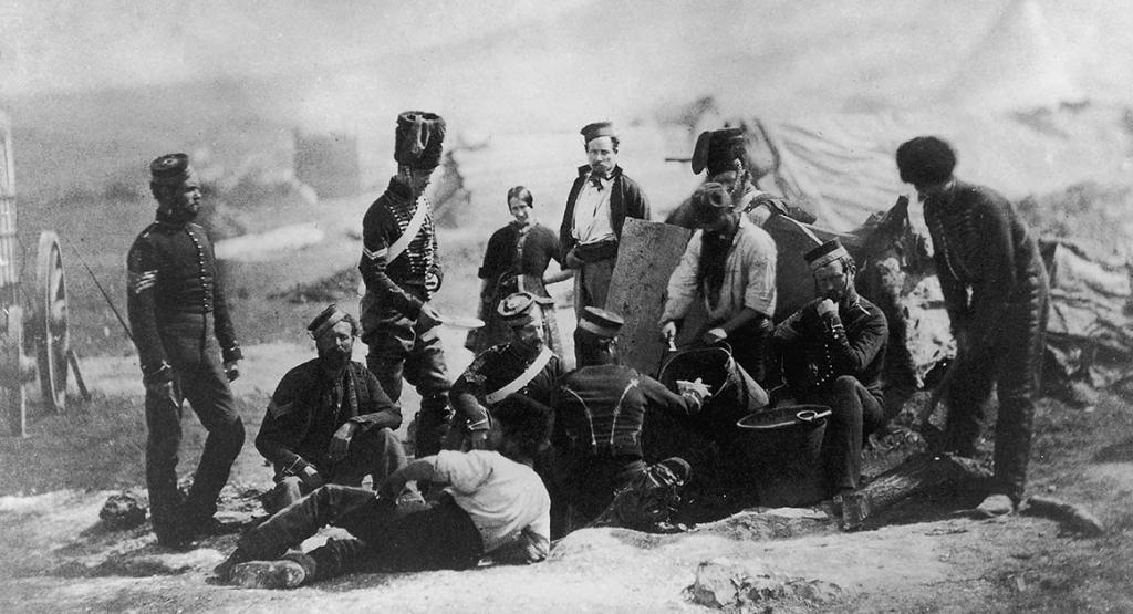 Hussars are preparing for dinner, a rare photograph from the time of the Crimean War of 1853-1856
