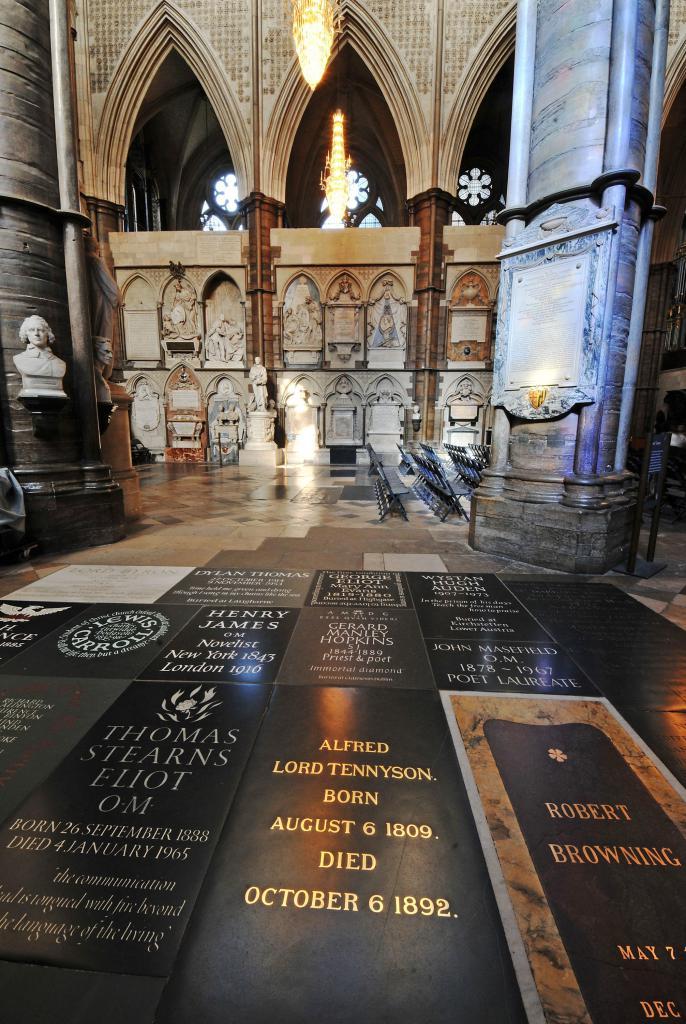 Уголок поэтов в Вестминстерском аббатстве