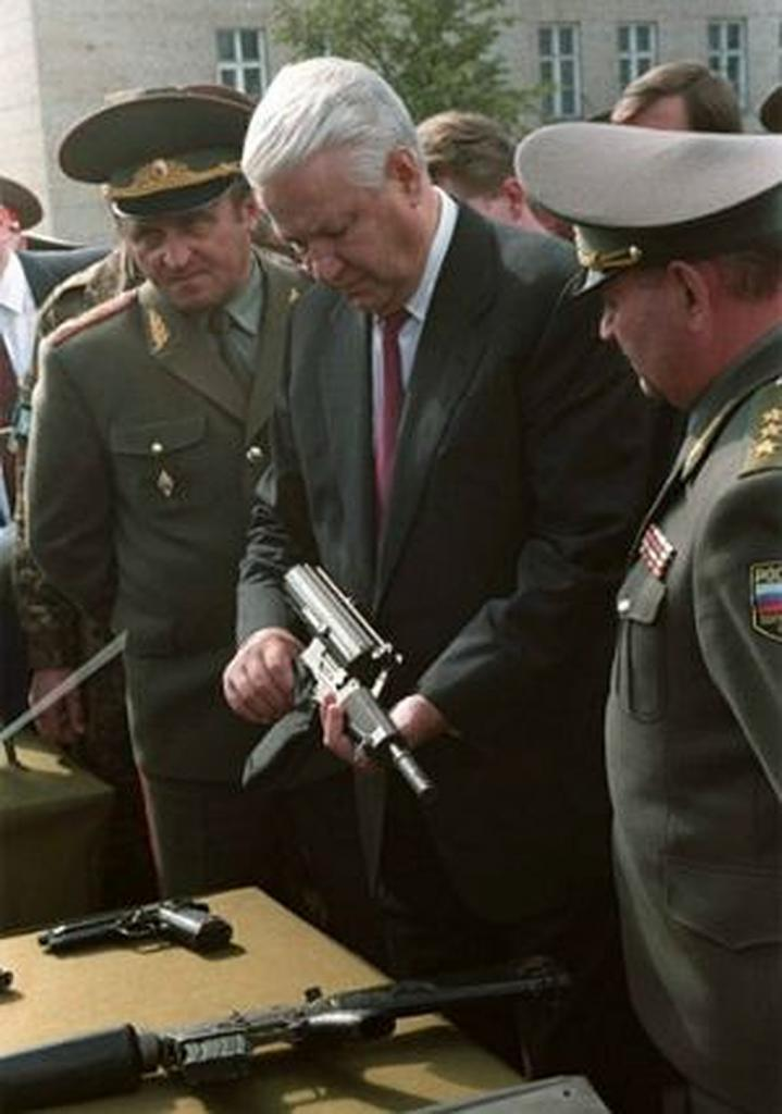 Boris Yeltsin at a military show