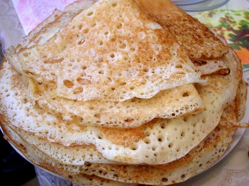 Delicious pancakes with holes.