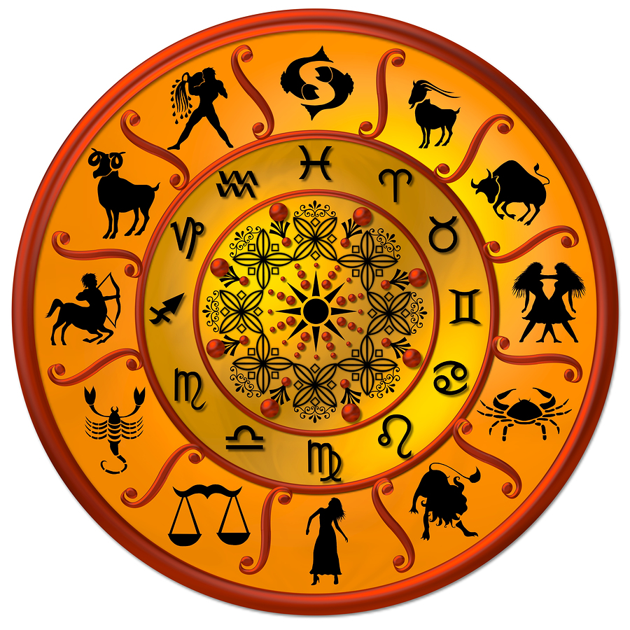 Wheel of life with signs of the zodiac