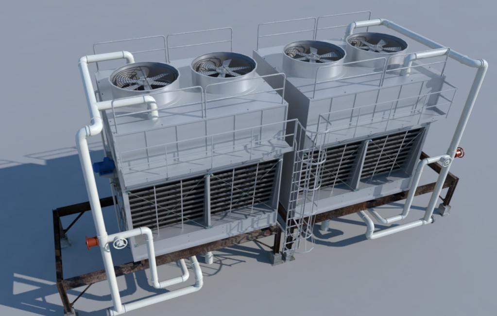 Fan-evaporative cooling tower unit
