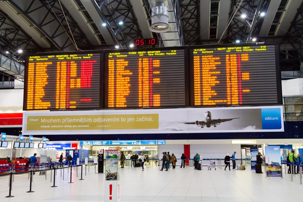 Airport Prague board: departures and arrivals