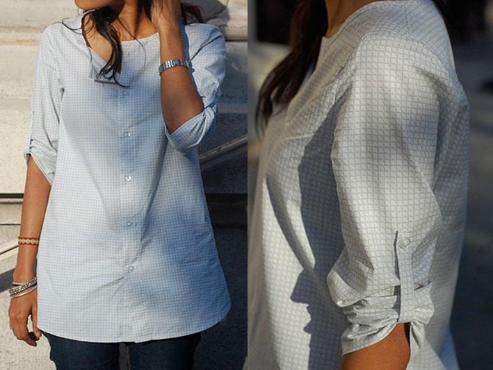 Переделка мужской рубашки для женщин