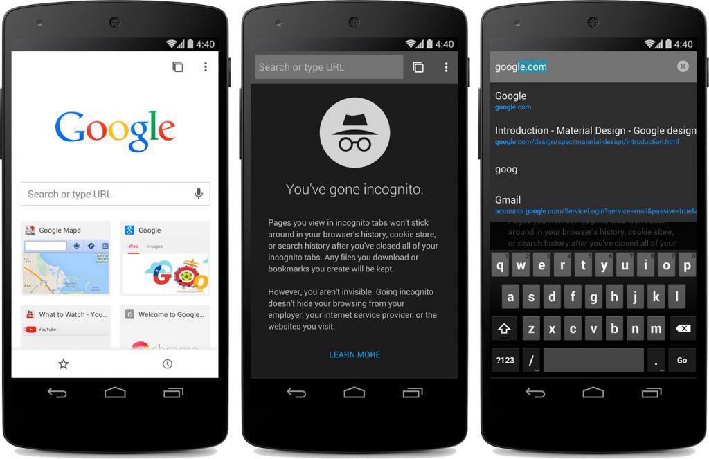 Поддержка Хромом режима инкогнито на Android