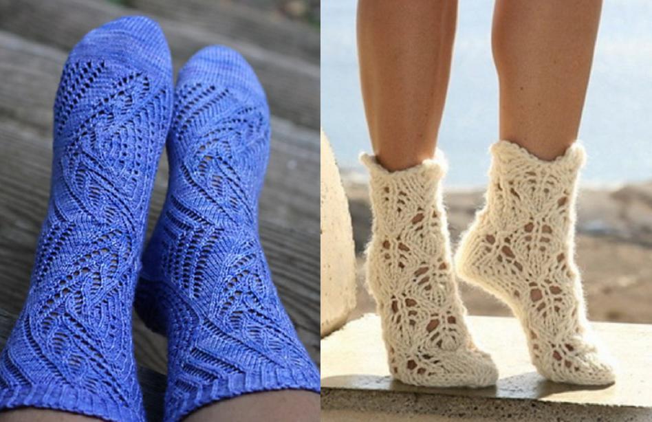 Вязание кружевных носков