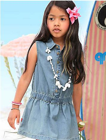 pattern denim children's sundress