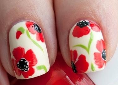 как рисовать цветы на ногтях