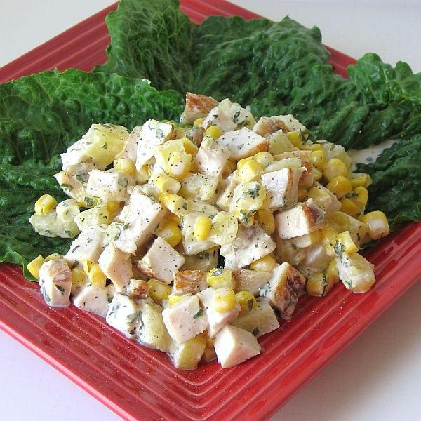 salad with pineapples and corn