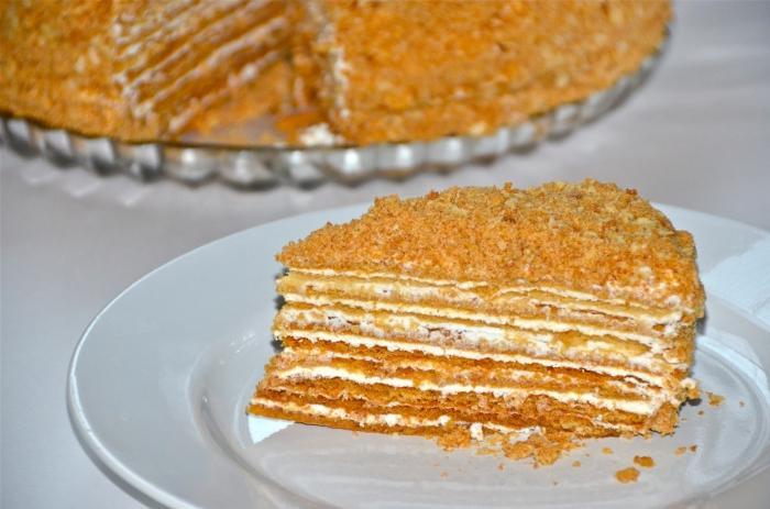 медовый торт рецепт со сметанным кремом видео рецепт