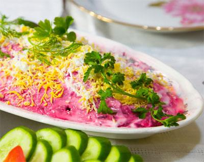 herring under a fur coat with cheese