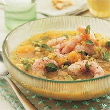 cheese soup with shrimps