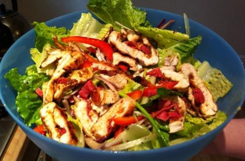 salad with boiled chicken breast