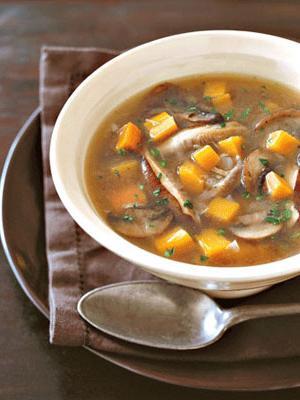 mushroom soup in meat broth
