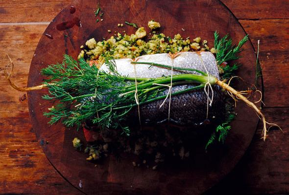 stuffed pink salmon in the oven