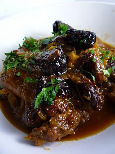 meat with prunes in foil