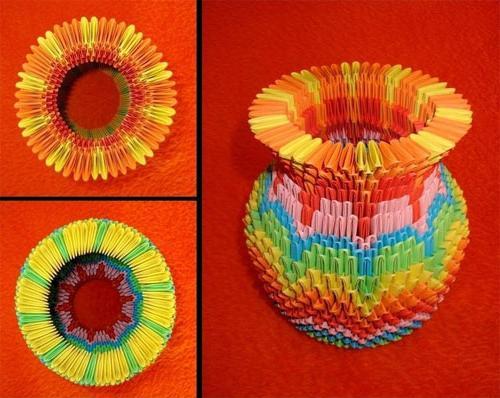 Оригами из бумаги ваза из треугольных модулей