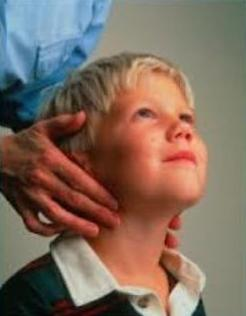 lymph nodes in the neck of a child