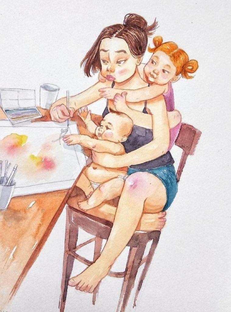 Открыток, мамы с детьми рисунки смешные
