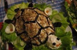 Стол рецепт салата черепаха