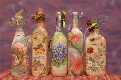 Как сделать декупаж бутылок своими руками. Декупаж бутылок салфетками: мастер-класс
