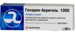 """""""Гепарин-Акригель 1000"""". Описание препарата, инструкция по применению"""
