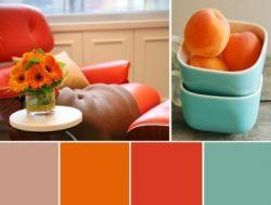 Какой цвет сочетается с оранжевым в интерьере?