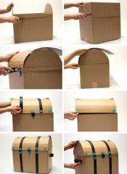 Делаем сундук из коробки